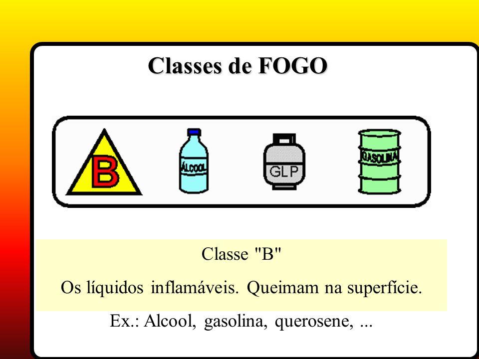 Classe B Os líquidos inflamáveis. Queimam na superfície. Ex.: Alcool, gasolina, querosene,...