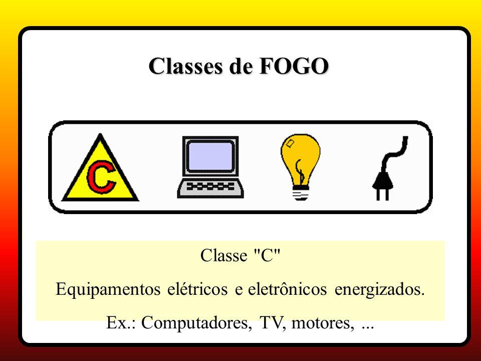 Classe C Equipamentos elétricos e eletrônicos energizados.