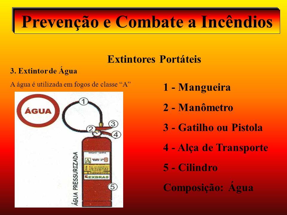 Prevenção e Combate a Incêndios Extintores Portáteis Extintor de Água - O agente extintor é a água. Há dois tipos: 1. Pressurizado É um cilindro com á