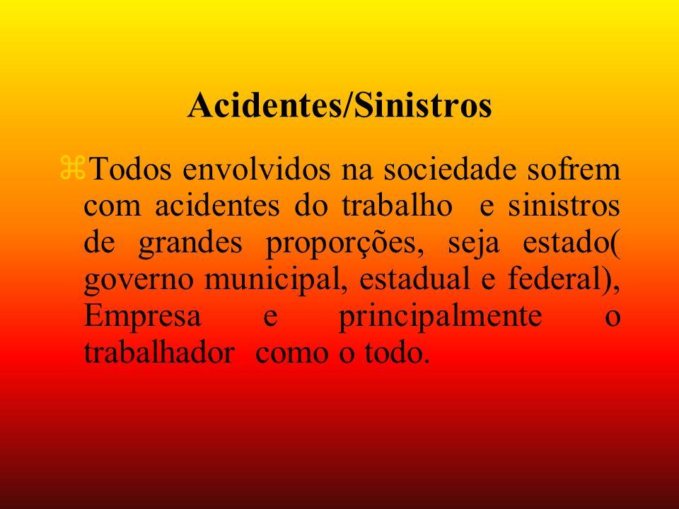 Acidentes/Sinistros zTodos envolvidos na sociedade sofrem com acidentes do trabalho e sinistros de grandes proporções, seja estado( governo municipal, estadual e federal), Empresa e principalmente o trabalhador como o todo.