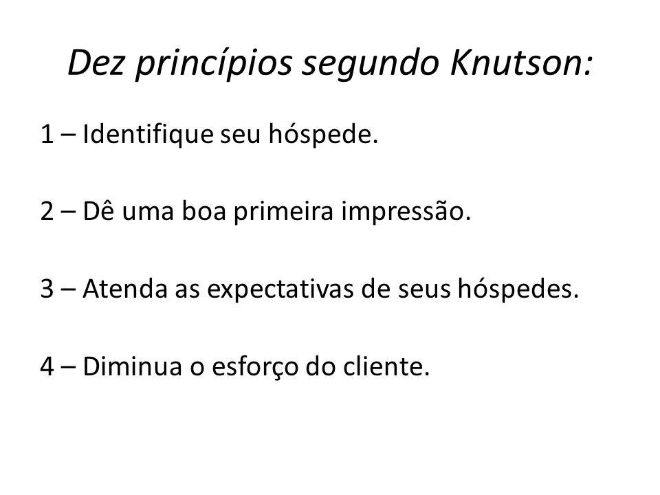 Dez princípios segundo Knutson: 1 – Identifique seu hóspede. 2 – Dê uma boa primeira impressão. 3 – Atenda as expectativas de seus hóspedes. 4 – Dimin