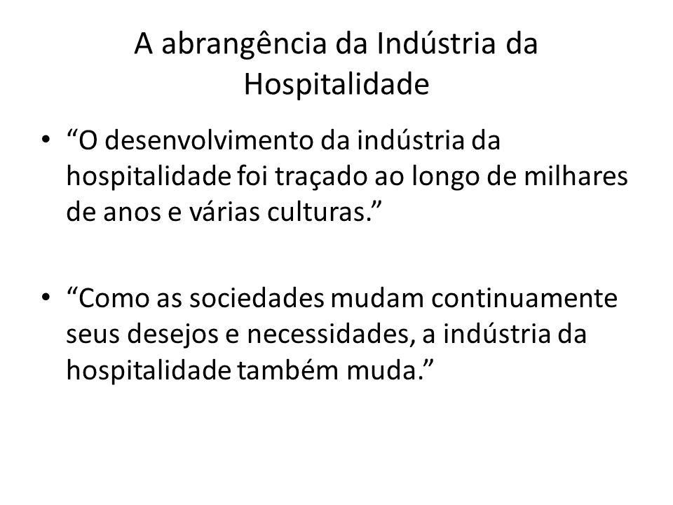 A abrangência da Indústria da Hospitalidade O desenvolvimento da indústria da hospitalidade foi traçado ao longo de milhares de anos e várias culturas