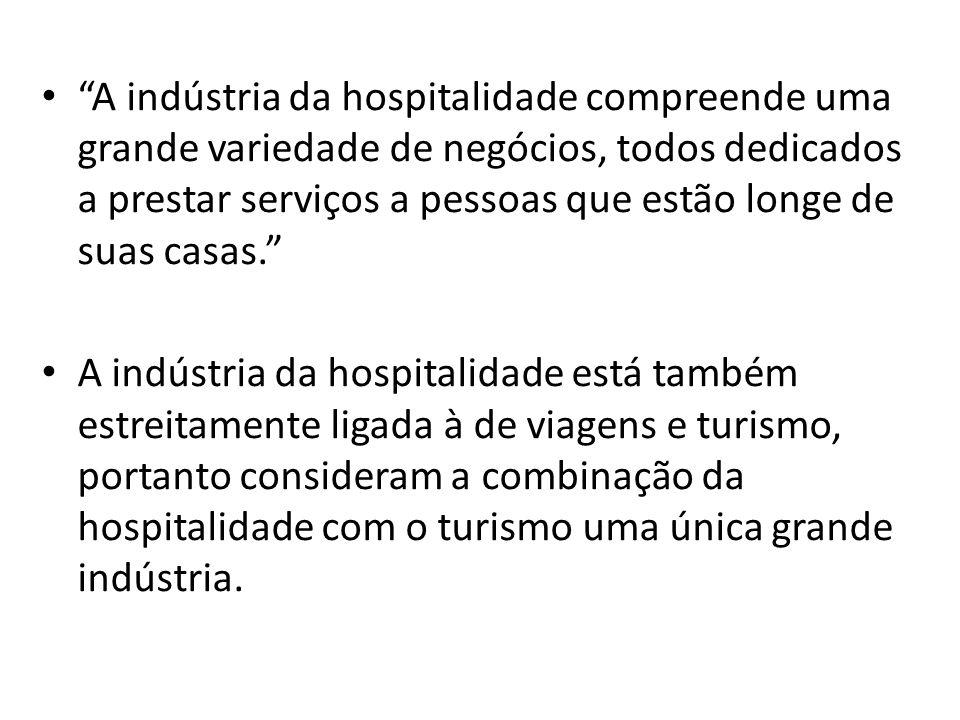 A indústria da hospitalidade compreende uma grande variedade de negócios, todos dedicados a prestar serviços a pessoas que estão longe de suas casas.