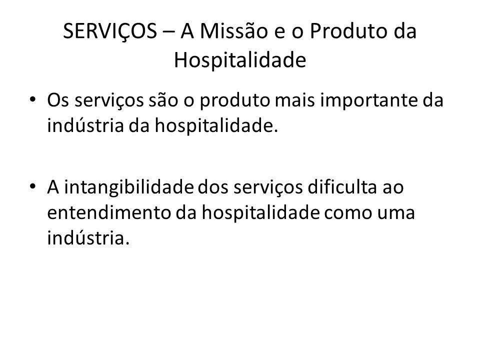 SERVIÇOS – A Missão e o Produto da Hospitalidade Os serviços são o produto mais importante da indústria da hospitalidade. A intangibilidade dos serviç