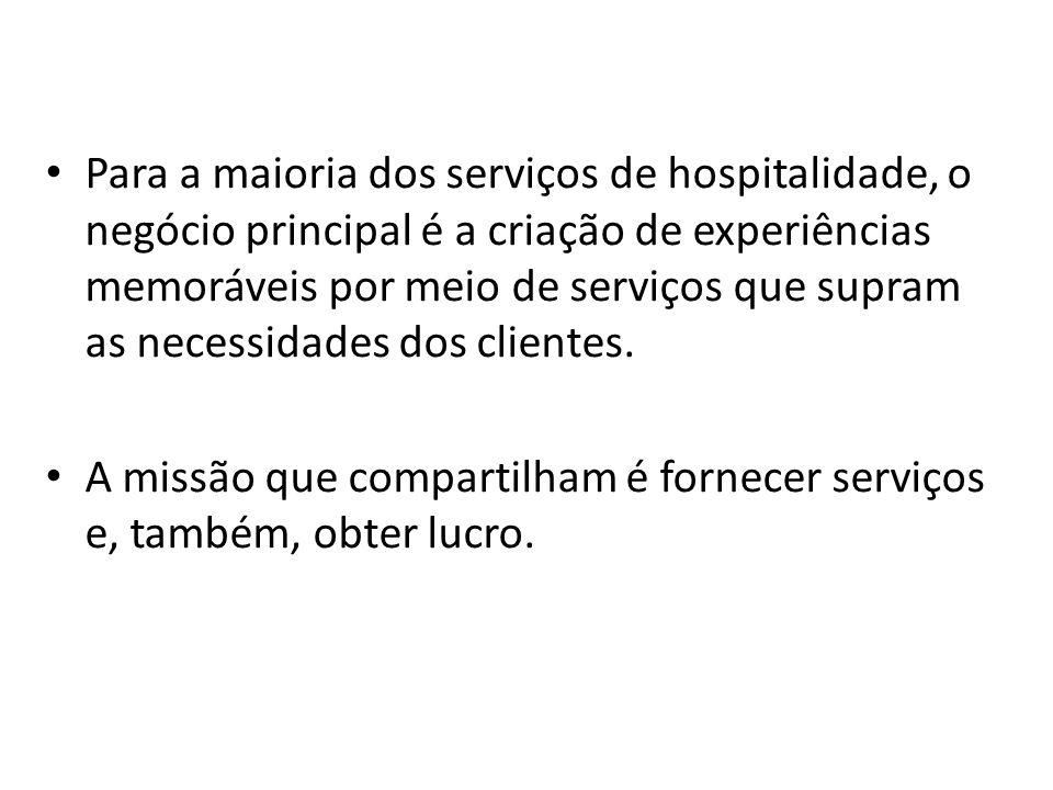 Para a maioria dos serviços de hospitalidade, o negócio principal é a criação de experiências memoráveis por meio de serviços que supram as necessidad