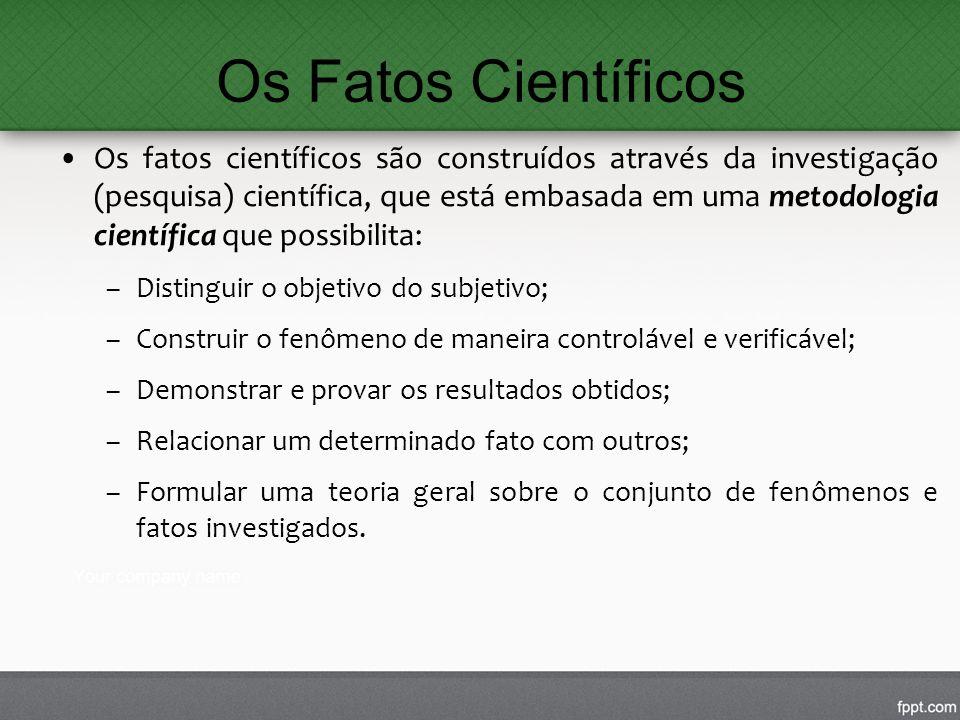 Os Fatos Científicos Os fatos científicos são construídos através da investigação (pesquisa) científica, que está embasada em uma metodologia científi