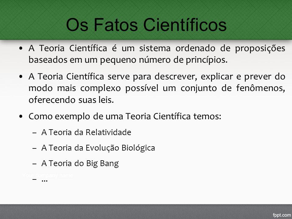Os Fatos Científicos A Teoria Científica é um sistema ordenado de proposições baseados em um pequeno número de princípios. A Teoria Científica serve p