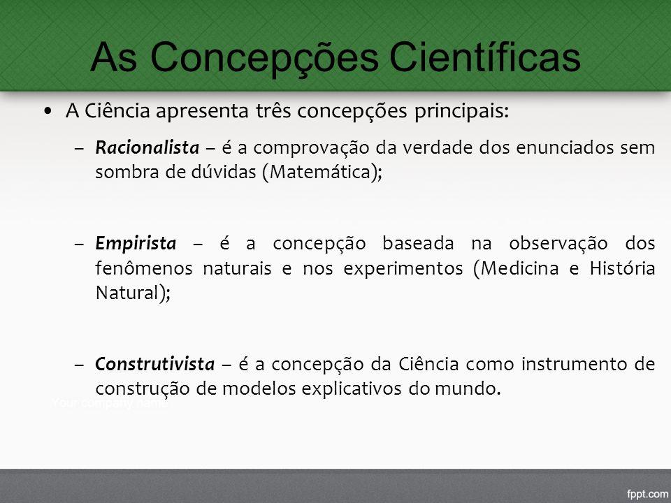 As Concepções Científicas A Ciência apresenta três concepções principais: –Racionalista – é a comprovação da verdade dos enunciados sem sombra de dúvi
