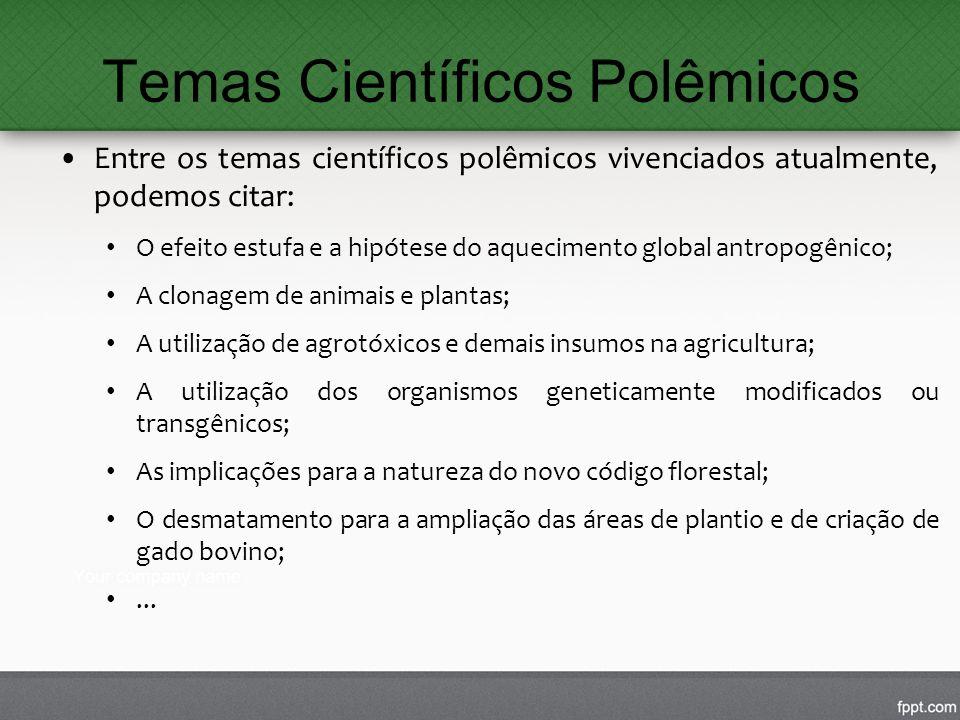 Temas Científicos Polêmicos Entre os temas científicos polêmicos vivenciados atualmente, podemos citar: O efeito estufa e a hipótese do aquecimento gl