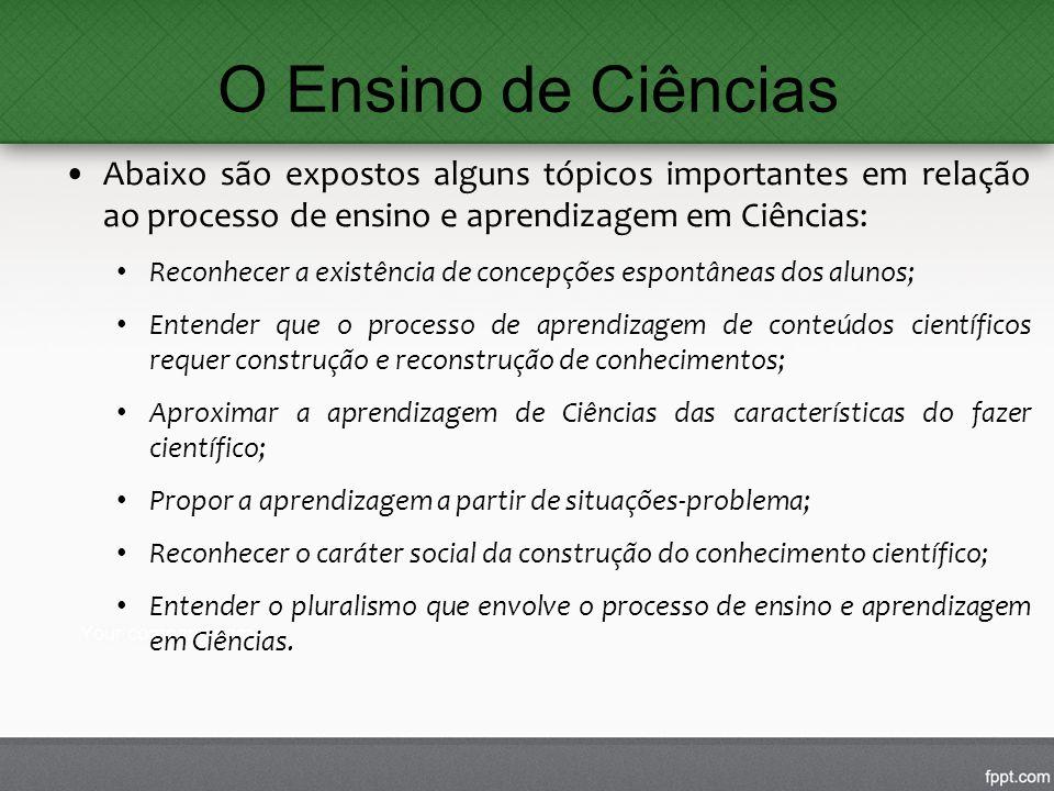 O Ensino de Ciências Abaixo são expostos alguns tópicos importantes em relação ao processo de ensino e aprendizagem em Ciências: Reconhecer a existênc