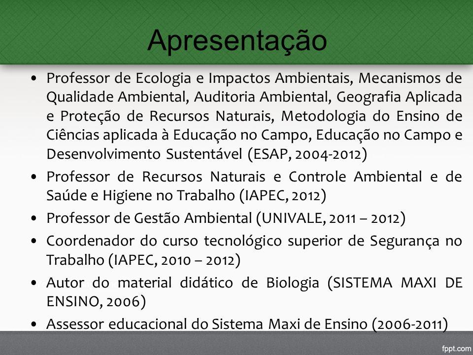 Apresentação Professor de Ecologia e Impactos Ambientais, Mecanismos de Qualidade Ambiental, Auditoria Ambiental, Geografia Aplicada e Proteção de Rec