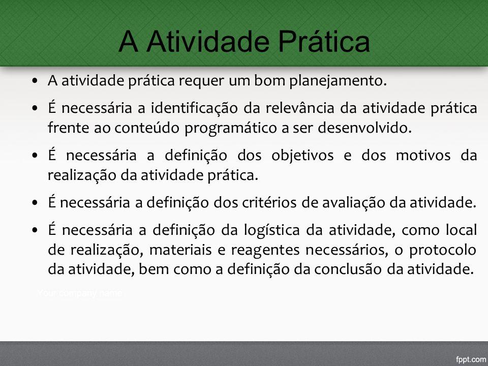 A Atividade Prática A atividade prática requer um bom planejamento. É necessária a identificação da relevância da atividade prática frente ao conteúdo
