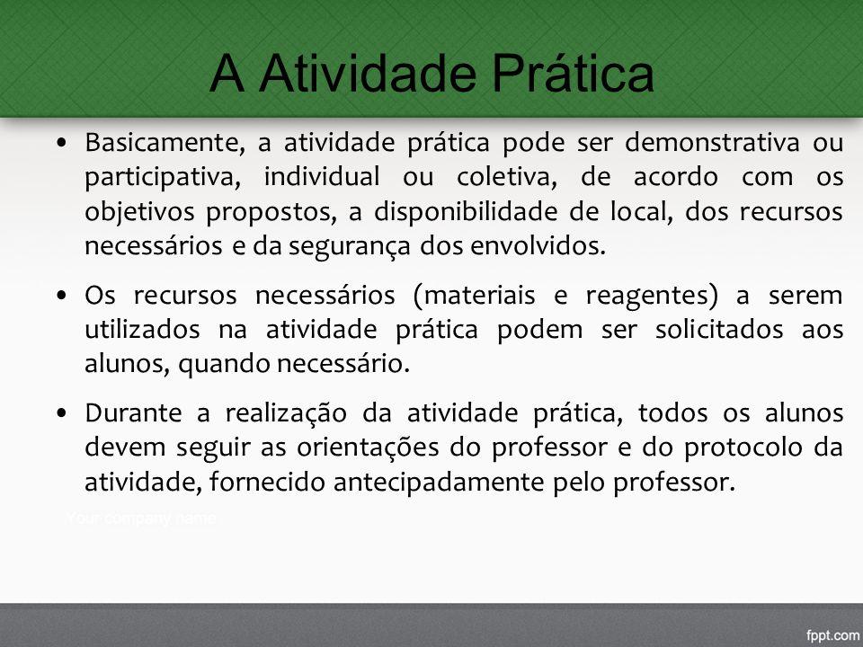 A Atividade Prática Basicamente, a atividade prática pode ser demonstrativa ou participativa, individual ou coletiva, de acordo com os objetivos propo