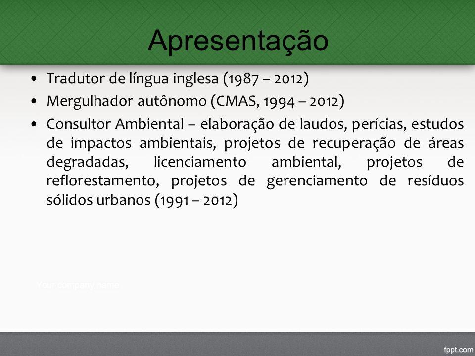 Apresentação Tradutor de língua inglesa (1987 – 2012) Mergulhador autônomo (CMAS, 1994 – 2012) Consultor Ambiental – elaboração de laudos, perícias, e