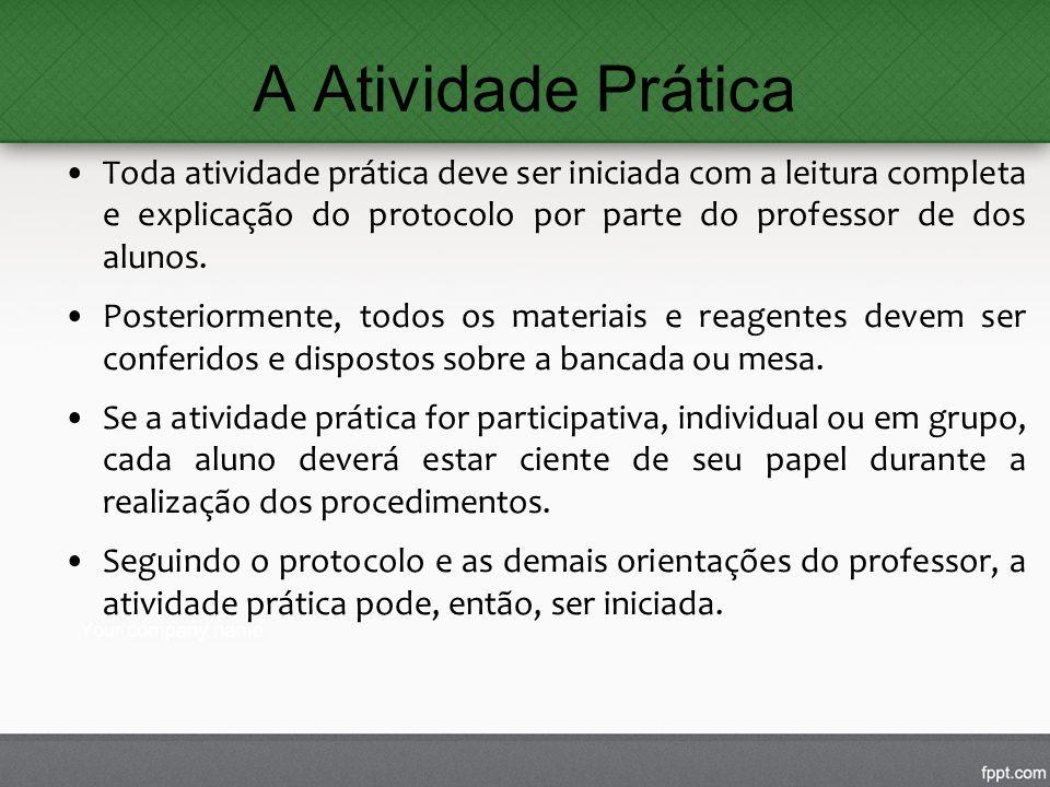A Atividade Prática Toda atividade prática deve ser iniciada com a leitura completa e explicação do protocolo por parte do professor de dos alunos. Po