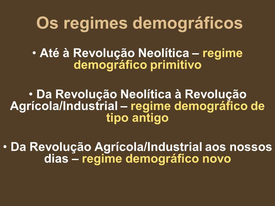 Os regimes demográficos Até à Revolução Neolítica – regime demográfico primitivo Da Revolução Neolítica à Revolução Agrícola/Industrial – regime demog