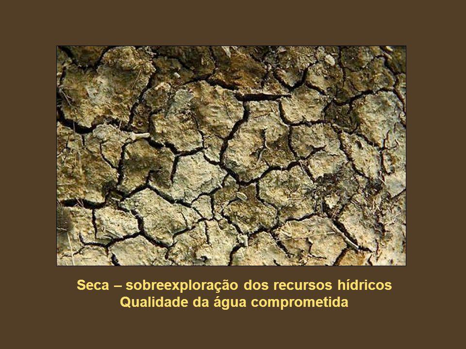 Seca – sobreexploração dos recursos hídricos Qualidade da água comprometida
