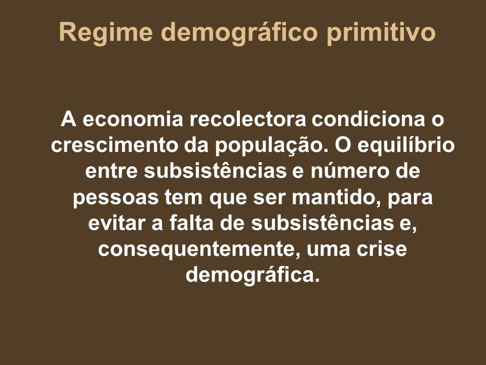 Regime demográfico primitivo A economia recolectora condiciona o crescimento da população. O equilíbrio entre subsistências e número de pessoas tem qu