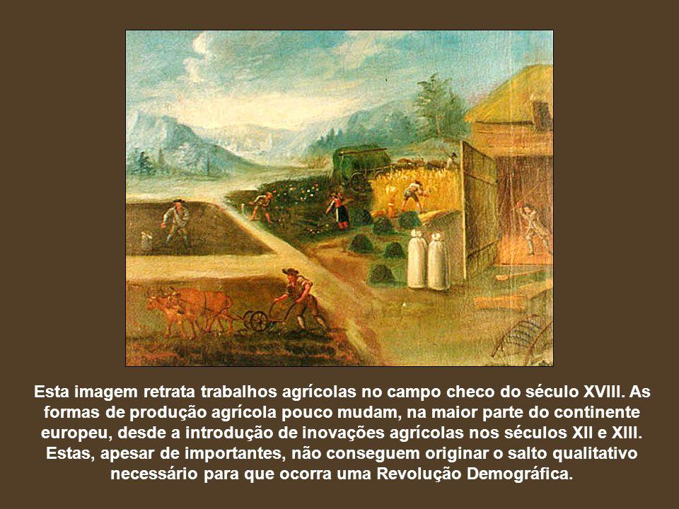 Esta imagem retrata trabalhos agrícolas no campo checo do século XVIII. As formas de produção agrícola pouco mudam, na maior parte do continente europ