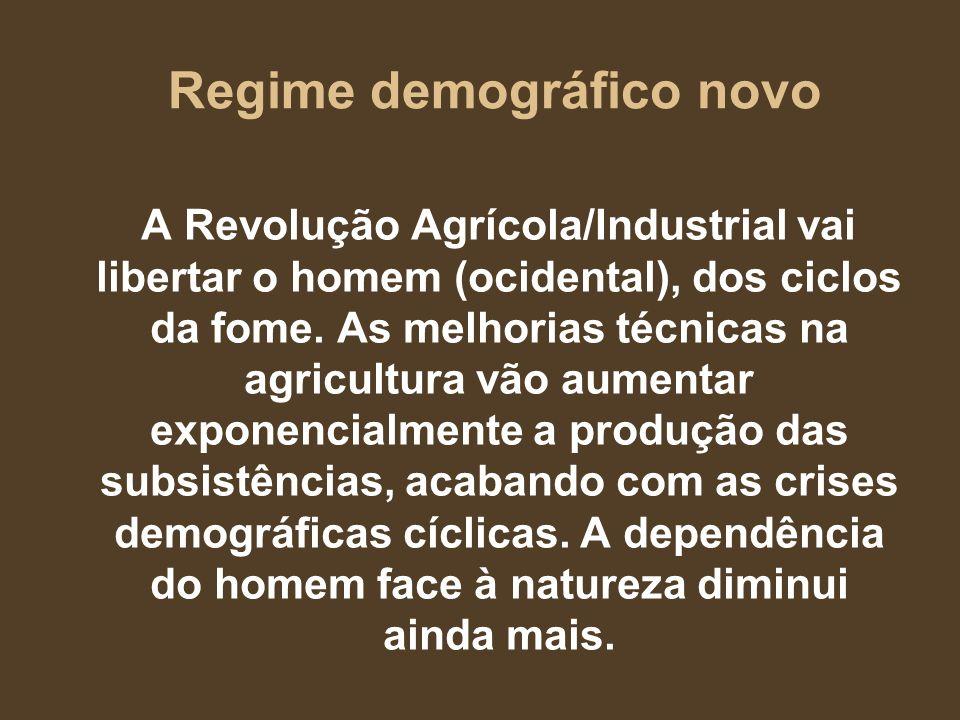 Regime demográfico novo A Revolução Agrícola/Industrial vai libertar o homem (ocidental), dos ciclos da fome. As melhorias técnicas na agricultura vão