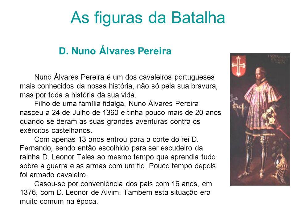 As figuras da Batalha D. Nuno Álvares Pereira Nuno Álvares Pereira é um dos cavaleiros portugueses mais conhecidos da nossa história, não só pela sua