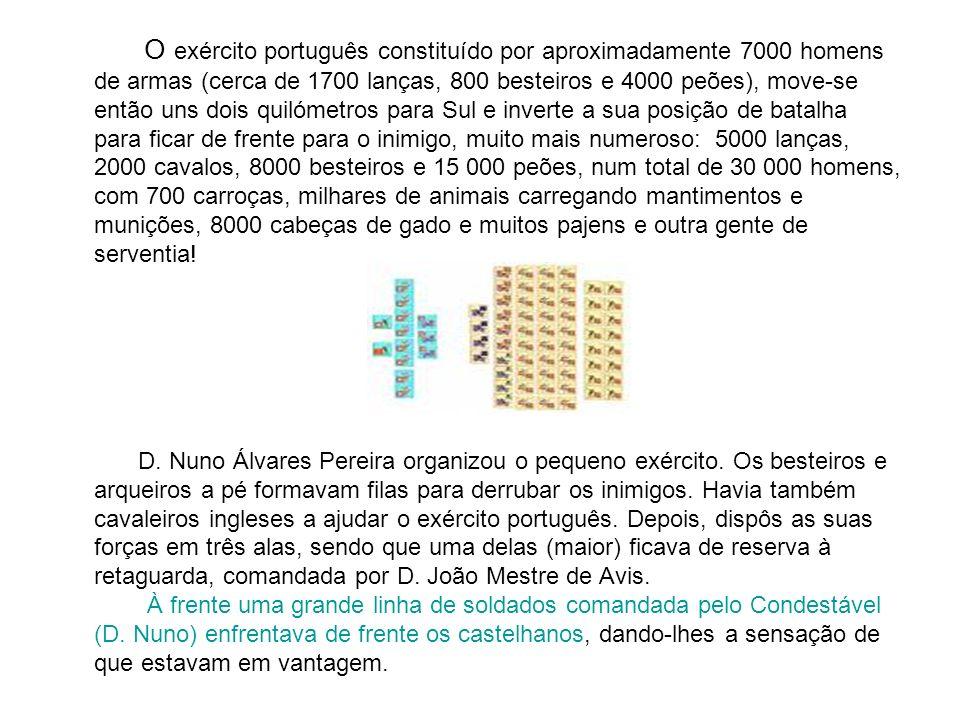 O exército português constituído por aproximadamente 7000 homens de armas (cerca de 1700 lanças, 800 besteiros e 4000 peões), move-se então uns dois q