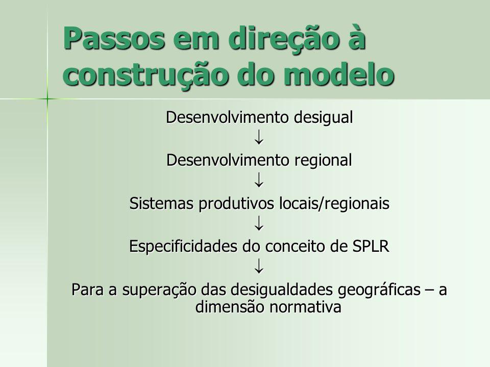 Passos em direção à construção do modelo Desenvolvimento desigual Desenvolvimento regional Sistemas produtivos locais/regionais Especificidades do con