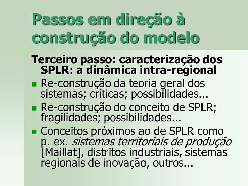 Passos em direção à construção do modelo Terceiro passo: caracterização dos SPLR: a dinâmica intra-regional Re-construção da teoria geral dos sistemas
