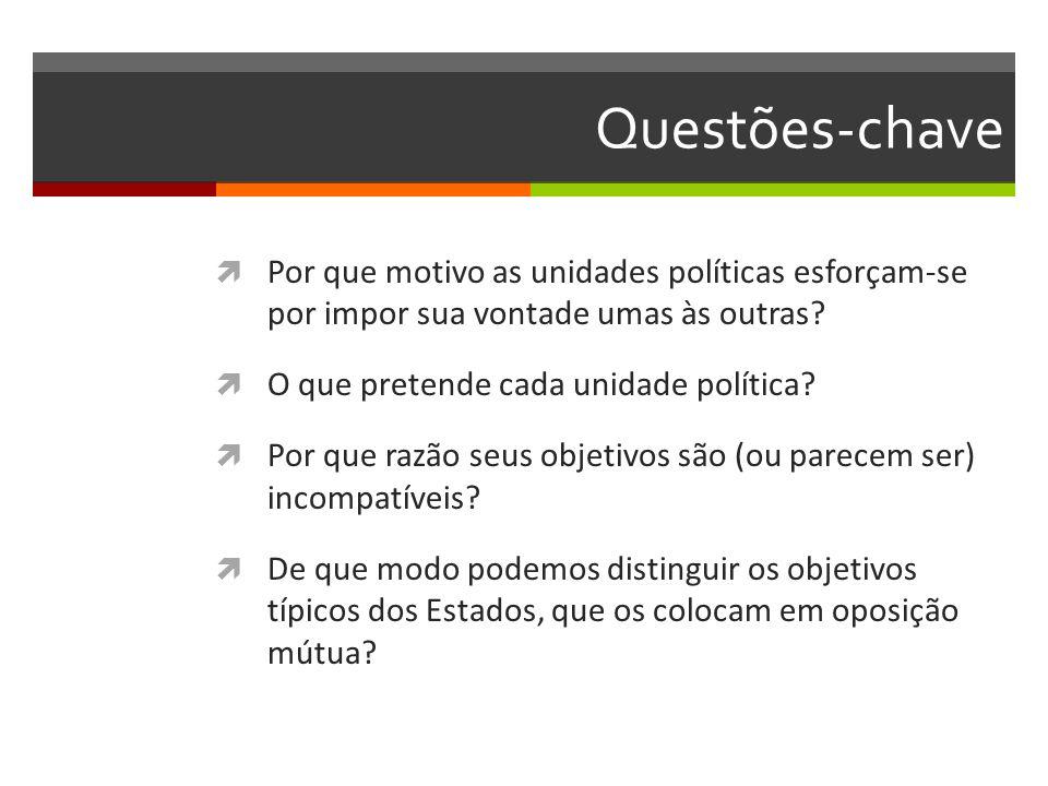 Questões-chave Por que motivo as unidades políticas esforçam-se por impor sua vontade umas às outras? O que pretende cada unidade política? Por que ra
