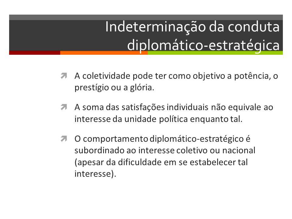 Indeterminação da conduta diplomático-estratégica A coletividade pode ter como objetivo a potência, o prestígio ou a glória. A soma das satisfações in