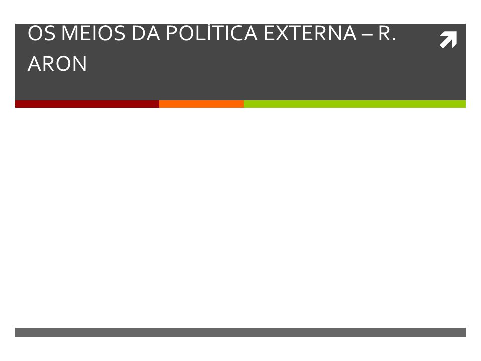 OS MEIOS DA POLÍTICA EXTERNA – R. ARON