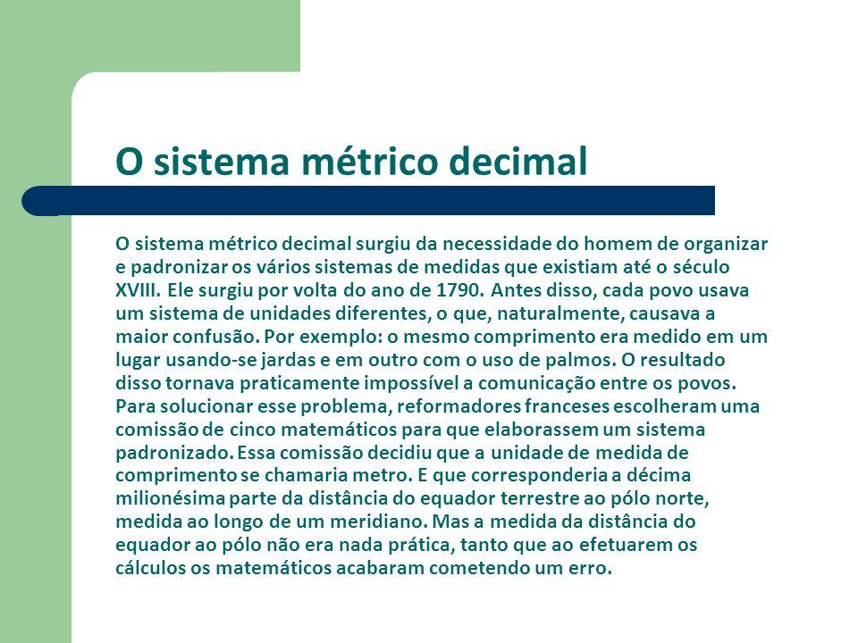 O sistema métrico decimal O sistema métrico decimal surgiu da necessidade do homem de organizar e padronizar os vários sistemas de medidas que existia