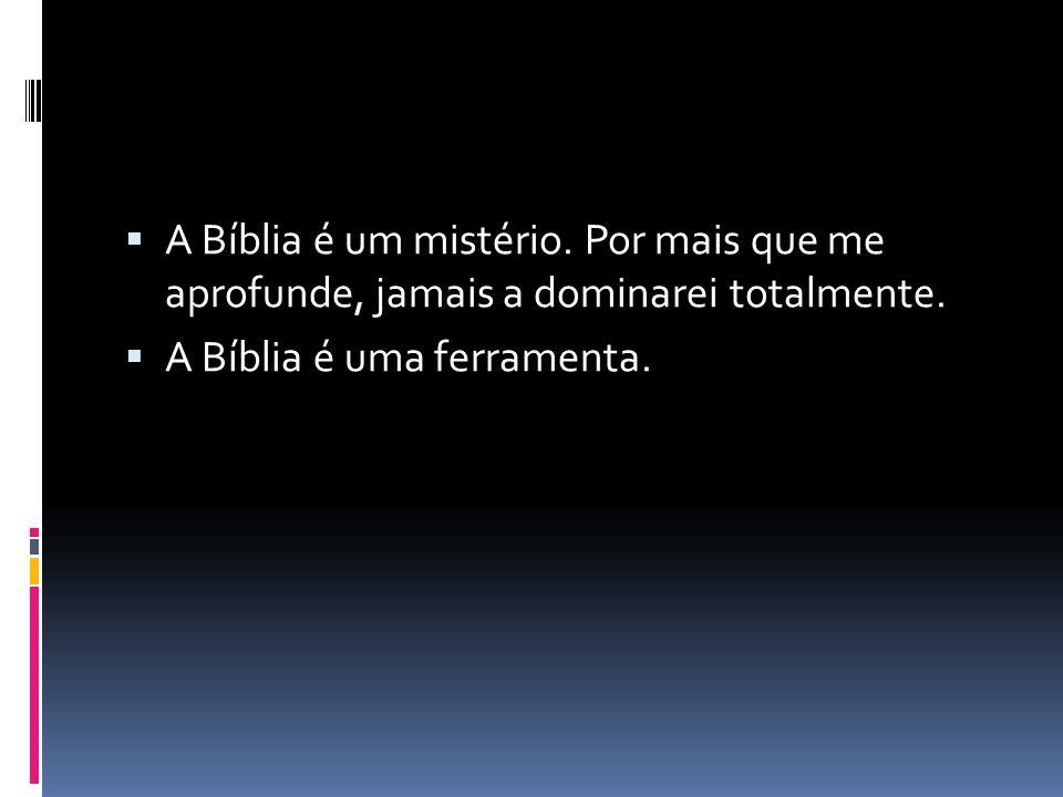A Bíblia é um mistério. Por mais que me aprofunde, jamais a dominarei totalmente. A Bíblia é uma ferramenta.