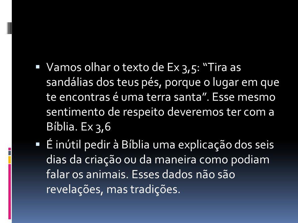 Vamos olhar o texto de Ex 3,5: Tira as sandálias dos teus pés, porque o lugar em que te encontras é uma terra santa. Esse mesmo sentimento de respeito
