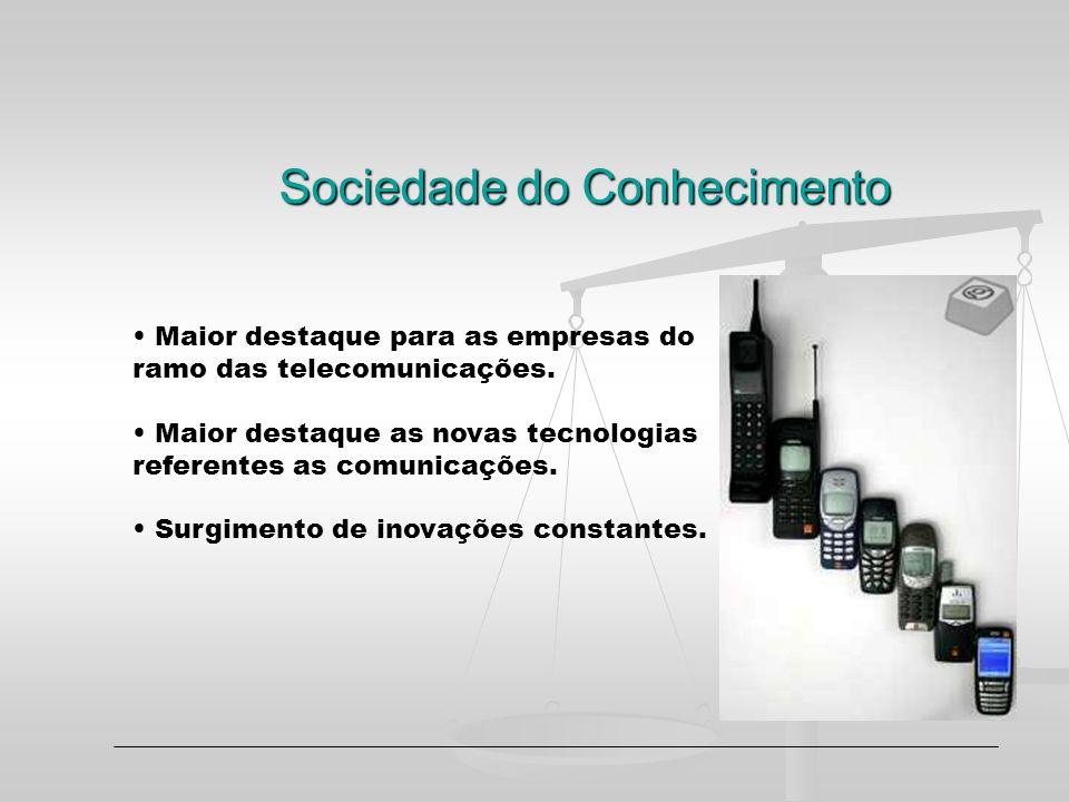 Sociedade do Conhecimento Maior destaque para as empresas do ramo das telecomunicações. Maior destaque as novas tecnologias referentes as comunicações