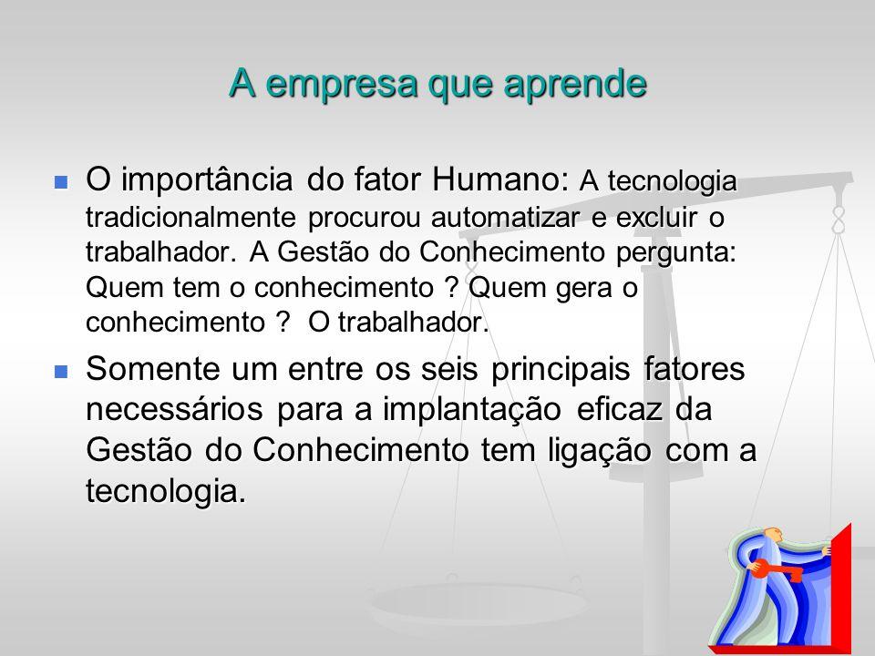 A empresa que aprende O importância do fator Humano: A tecnologia tradicionalmente procurou automatizar e excluir o trabalhador. A Gestão do Conhecime