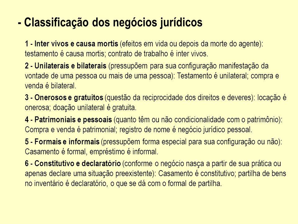 - Classificação dos negócios jurídicos 1 - Inter vivos e causa mortis (efeitos em vida ou depois da morte do agente): testamento é causa mortis; contr