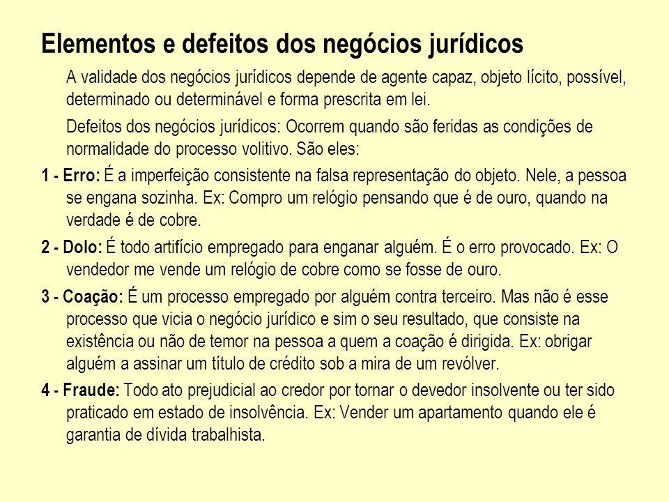 Elementos e defeitos dos negócios jurídicos A validade dos negócios jurídicos depende de agente capaz, objeto lícito, possível, determinado ou determi