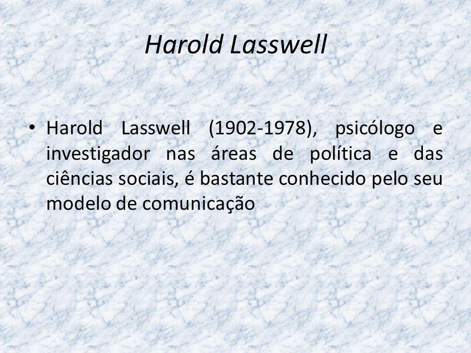 Harold Lasswell Harold Lasswell (1902-1978), psicólogo e investigador nas áreas de política e das ciências sociais, é bastante conhecido pelo seu mode