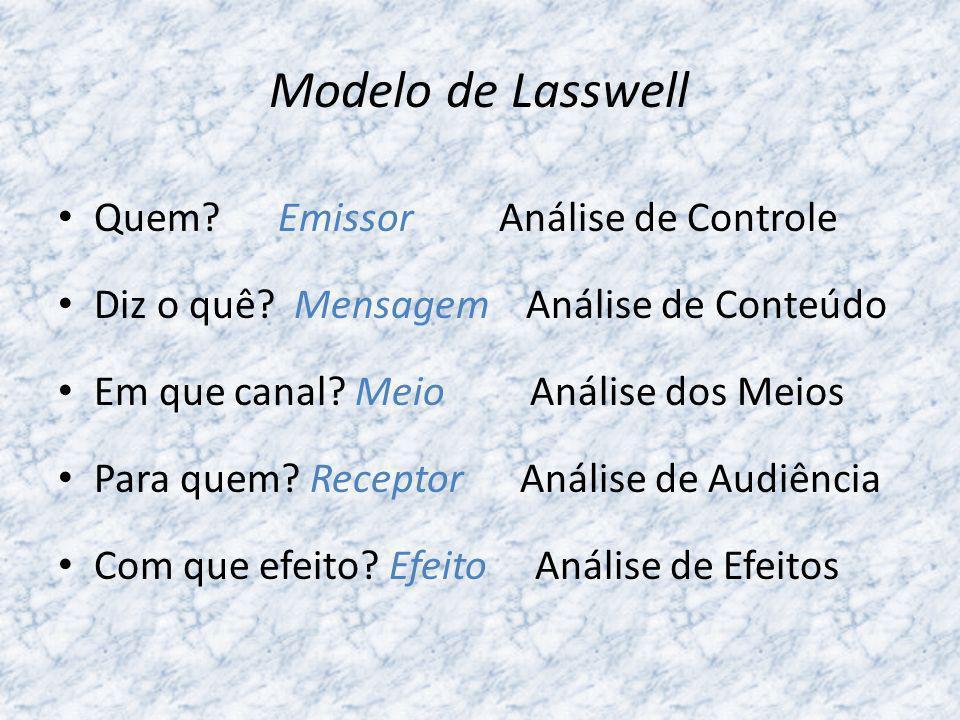 O Paradigma de Lasswell Este paradigma foi concebido na altura da teoria das balas mágicas e a pergunta que concentrou mais atenções foi: com que efeito?, Esta fórmula sugere uma linearidade típica das teorias de persuasão da altura.