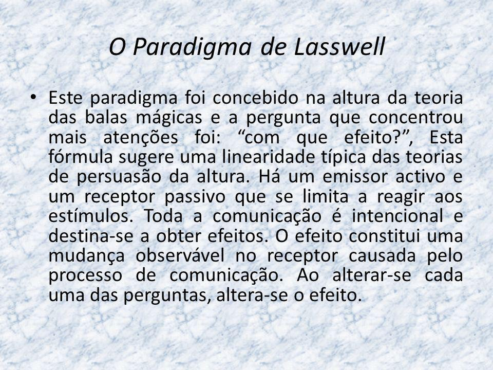 O Paradigma de Lasswell Este paradigma foi concebido na altura da teoria das balas mágicas e a pergunta que concentrou mais atenções foi: com que efei