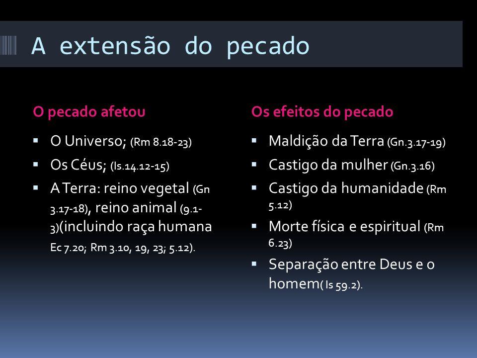 A extensão do pecado O pecado afetouOs efeitos do pecado O Universo; (Rm 8.18-23) Os Céus; (Is.14.12-15) A Terra: reino vegetal (Gn 3.17-18), reino an