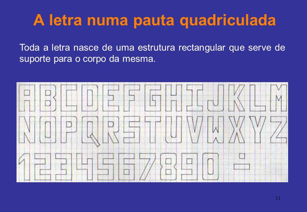 11 A letra numa pauta quadriculada Toda a letra nasce de uma estrutura rectangular que serve de suporte para o corpo da mesma.