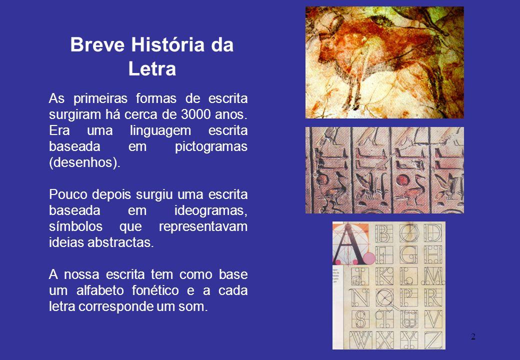 2 As primeiras formas de escrita surgiram há cerca de 3000 anos. Era uma linguagem escrita baseada em pictogramas (desenhos). Pouco depois surgiu uma