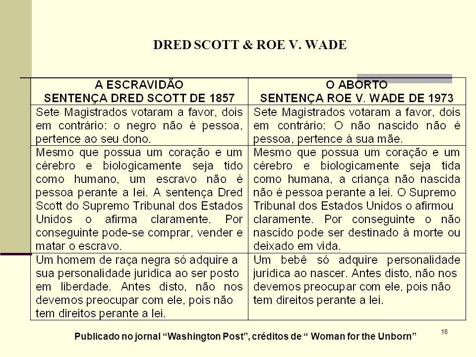 18 DRED SCOTT & ROE V. WADE Publicado no jornal Washington Post, créditos de Woman for the Unborn