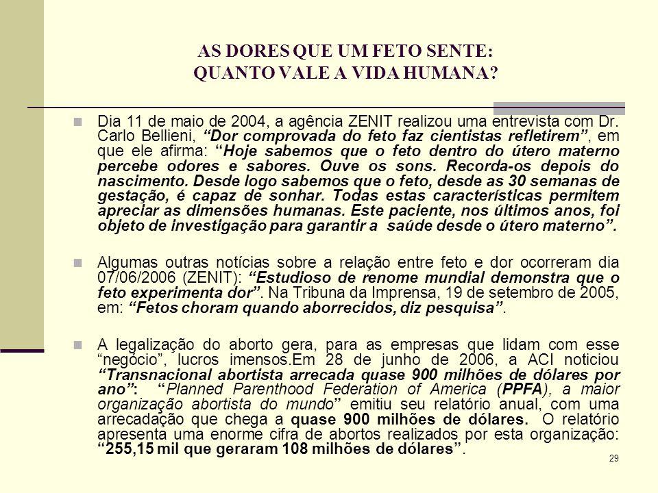 29 AS DORES QUE UM FETO SENTE: QUANTO VALE A VIDA HUMANA? Dia 11 de maio de 2004, a agência ZENIT realizou uma entrevista com Dr. Carlo Bellieni, Dor