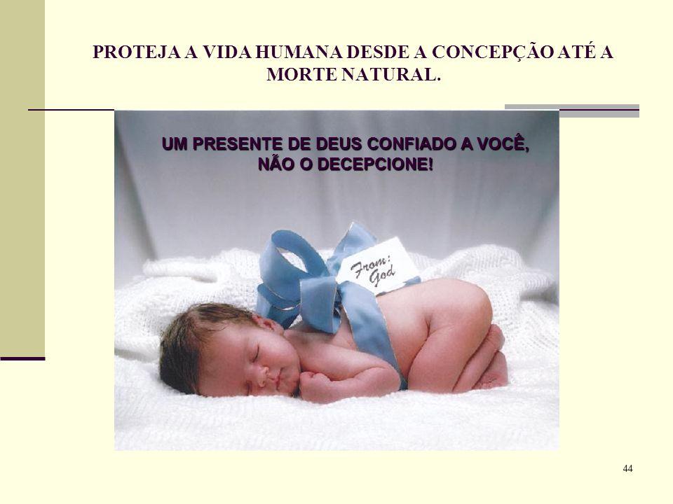 44 PROTEJA A VIDA HUMANA DESDE A CONCEPÇÃO ATÉ A MORTE NATURAL. UM PRESENTE DE DEUS CONFIADO A VOCÊ, NÃO O DECEPCIONE!