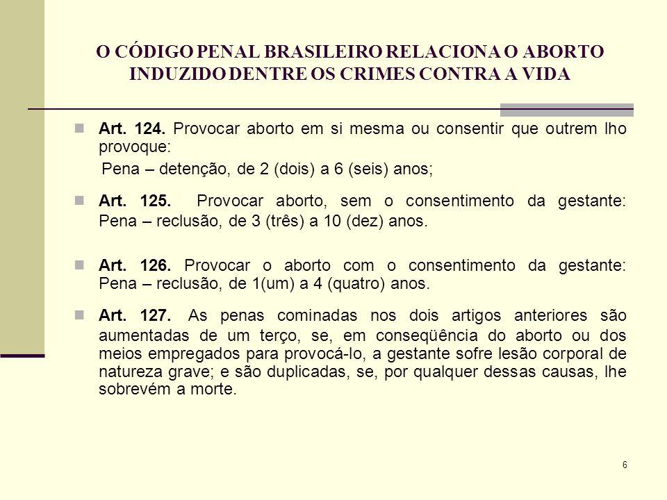 6 O CÓDIGO PENAL BRASILEIRO RELACIONA O ABORTO INDUZIDO DENTRE OS CRIMES CONTRA A VIDA Art. 124. Provocar aborto em si mesma ou consentir que outrem l