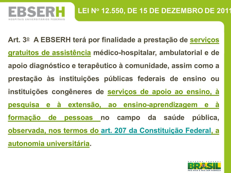 LEI N o 12.550, DE 15 DE DEZEMBRO DE 2011 Art. 3 o A EBSERH terá por finalidade a prestação de serviços gratuitos de assistência médico-hospitalar, am