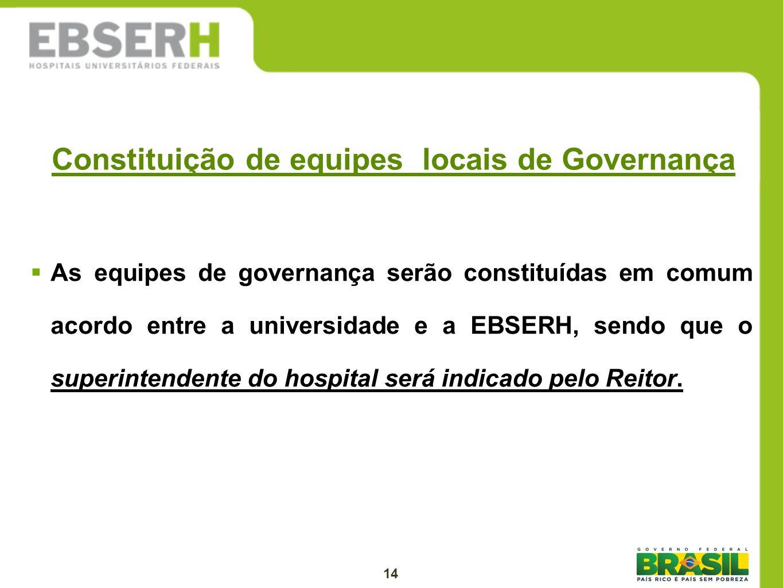 Constituição de equipes locais de Governança As equipes de governança serão constituídas em comum acordo entre a universidade e a EBSERH, sendo que o
